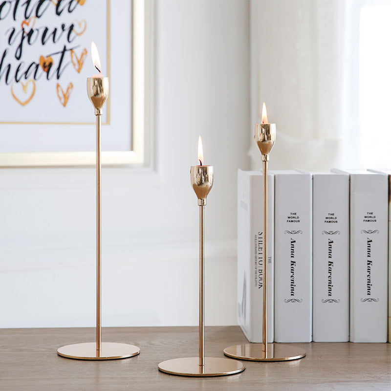 Metal Candle Holders - Gold
