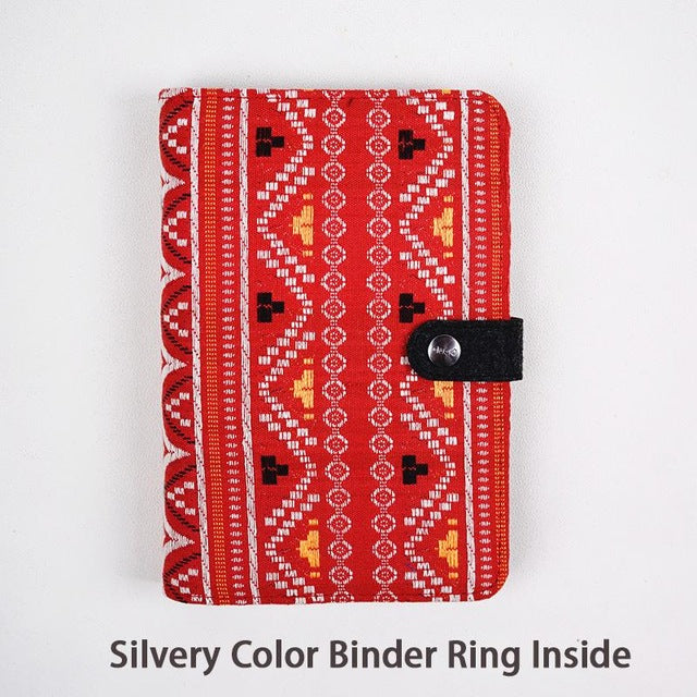 Boho Retro Fabric Cover Binder