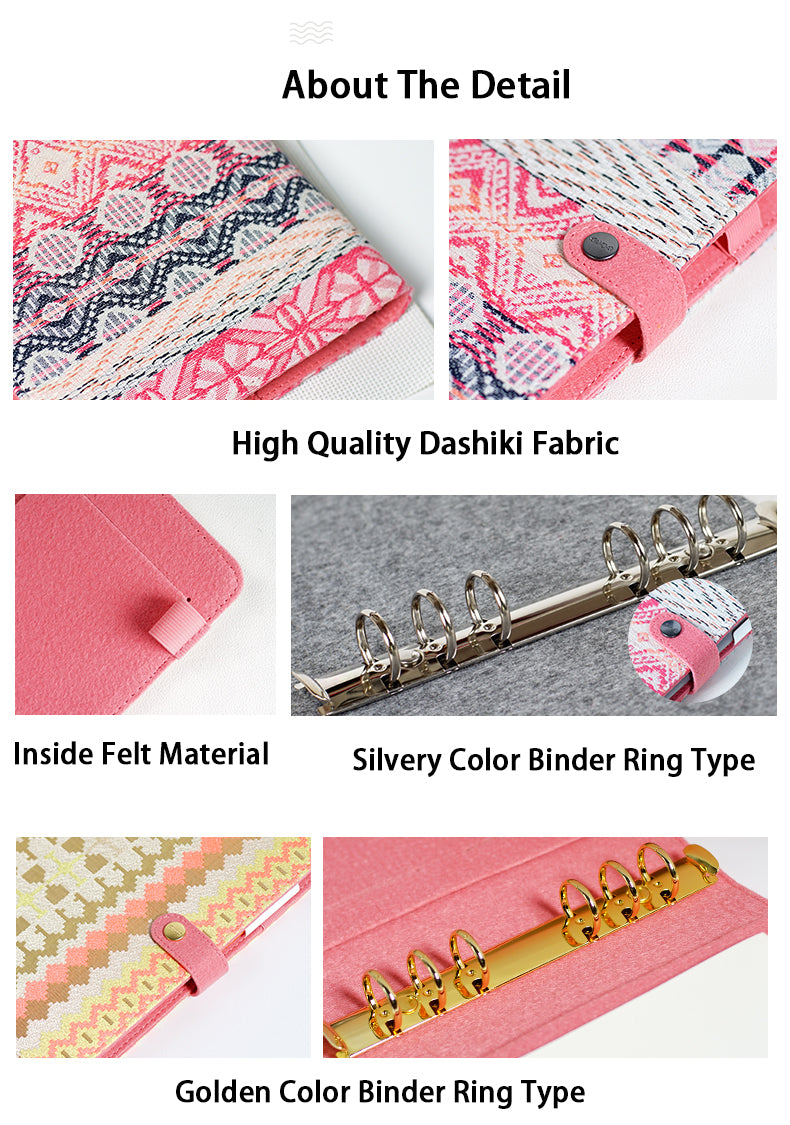 2018 Vintage Retro Fabric Cover Office Ring Binder Weekly Planner Organizer Dairy Notebook A5 A6