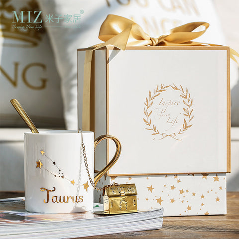 She Thinks 400ml Ceramic White Glossy Mug With Gold Foil Print and Gold Handle
