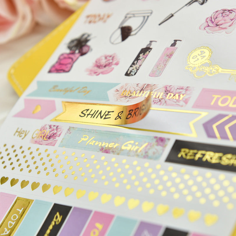 5 Sheet Sweet Weekend Gold Foil Stickers