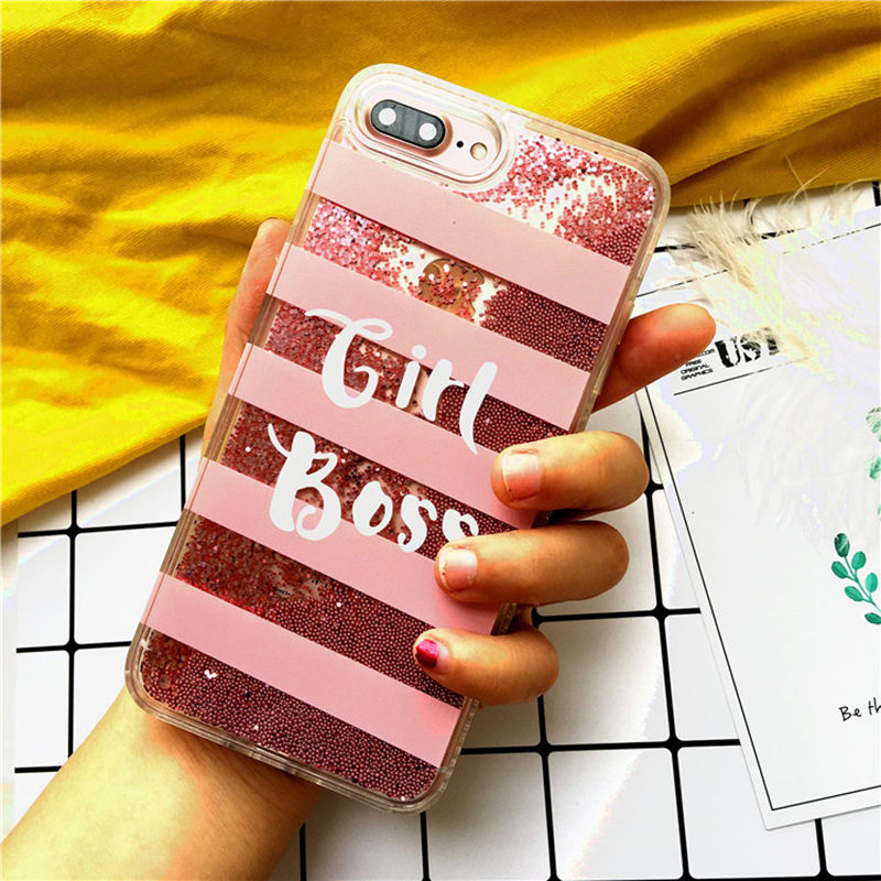 Girl Boss iPhone Cover with Glitter Quicksand