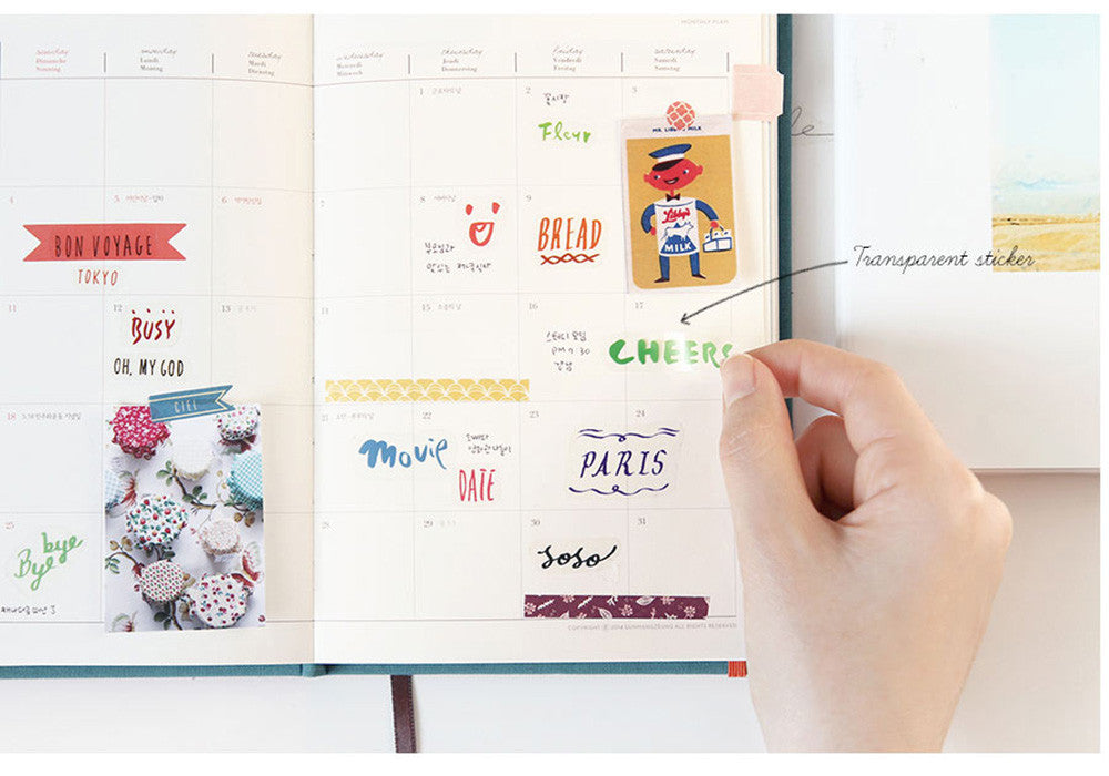 8 Sheet Planner Stickers Transparent