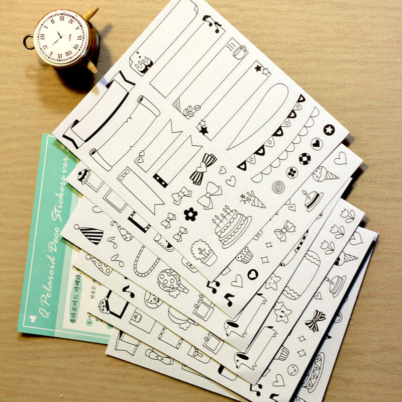 6 Sheets Calendar Paper Planner Stickers