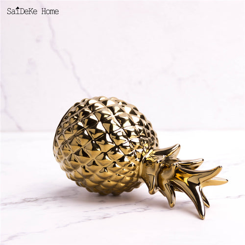 Golden Ceramic pineapple ornaments Figurines Ceramic fruit miniatures decoration home office decor