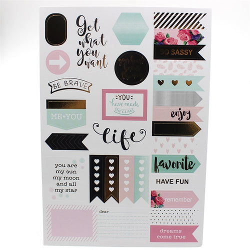 6 Sheets Good Life Self- adhesive Paper Stickers