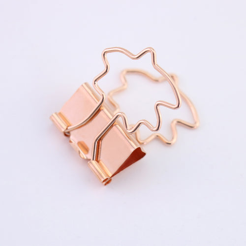 12pcs Rose Gold Metal Binder Clips 25mm fresh Style Flower Printed  Notes Letter Paper Clip Office