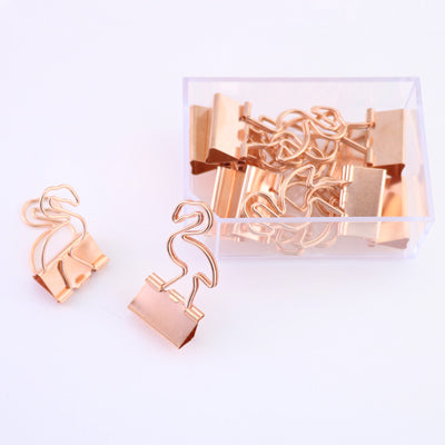 Rose Gold Metal Binder Clips - Set of 12
