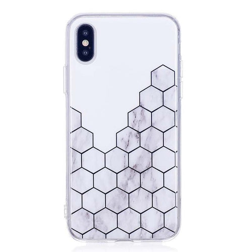 Bee Comb Granite Marble Silicone Phone Case