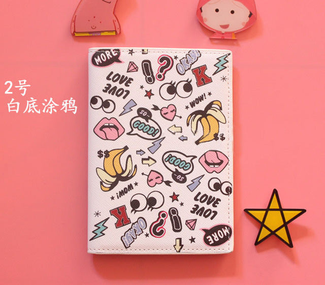 Graffiti PU Leather passport cover passport holder bags, cute Cartoon ID Card Holder Passport Cover