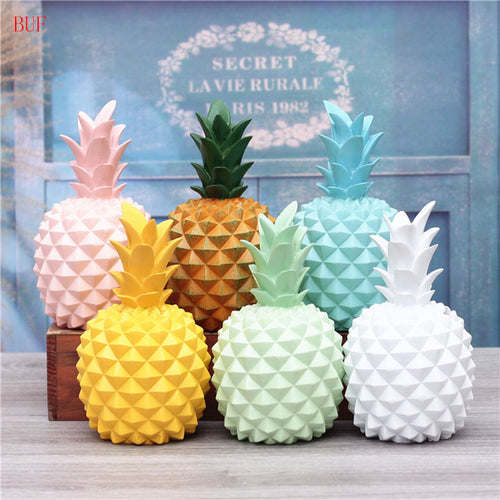 BUF Resin Pineapple Piggy Box Cute Gift Home Decoration Cash Coin Saving Box Money Box