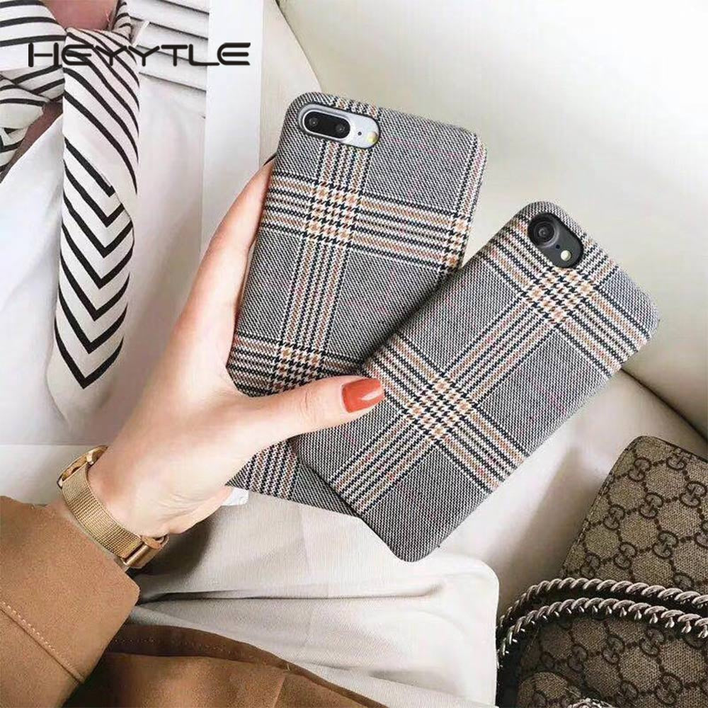 Cloth Grid Phone Case For Apple iPhone X 8 7 6S 6 Plus