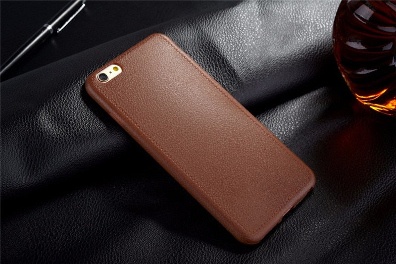 Ultra Thin Phone Cases For iPhone 5 5S SE 6 6s 7 8 Plus X Cover Leather Skin