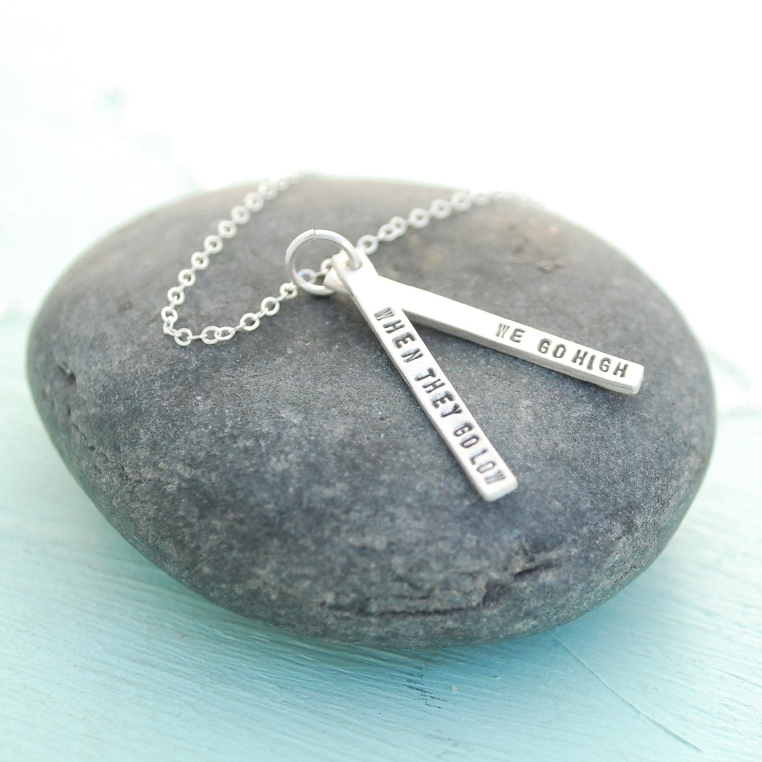Sterling Silver Quote Necklace - Michelle Obama