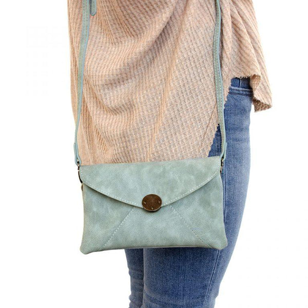 Vegan Leather Distressed Envelope Crossbody