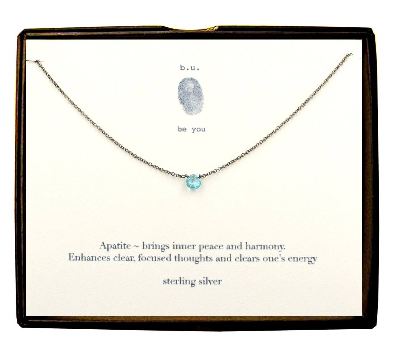 Sterling Silver Cut Heart - Apatite Necklace