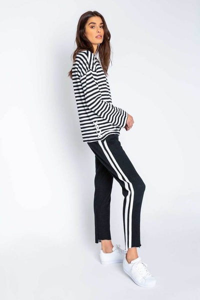 Striped Lace up Top