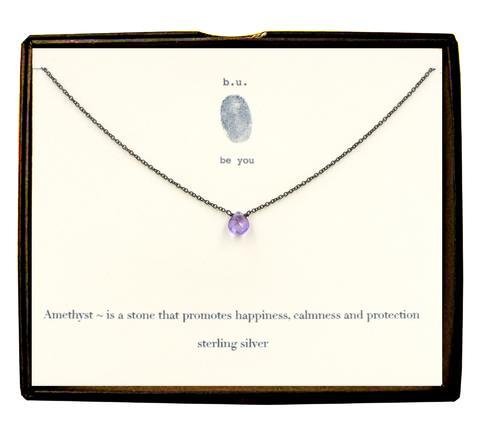 Sterling Silver Faceted Tear - Amethyst Necklace