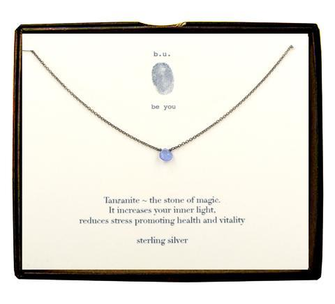 Sterling Silver Faceted Tear - Tanzanite Necklace