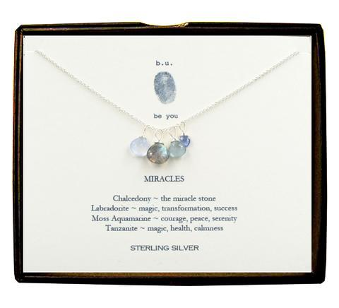 Sterling Silver Miracle Necklace with Semi Precious Stones