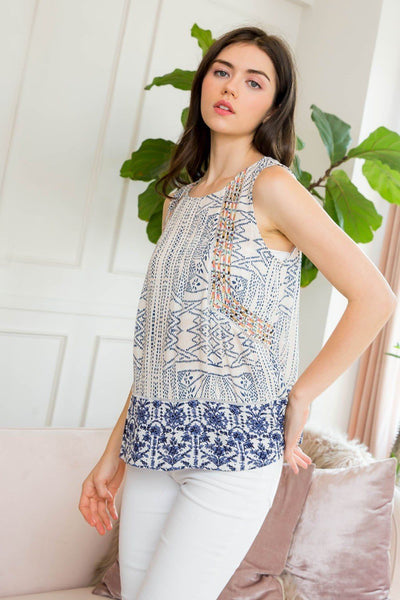 Mixed Print Embroidered Tank