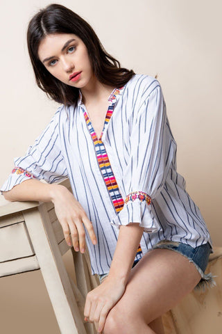 Balloon Sleeve Embroidered Top