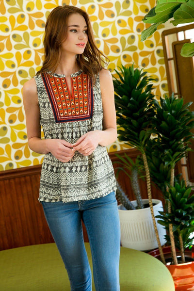 Sleeveless Printed Embroidered Top