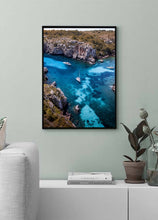 Boats Turquoise Water Beach Fine Art Print Poster Aerial Photography Drone Interior Design Menorca Blue Water Beach Poster Decoration
