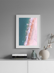 Rainbow Beach Queensland Australia Portrait Aerial Photography Drone Photography Poster Portrait Beach Waves Ocean Pink Beach in frame