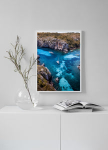 Boats Turquoise Water Beach Fine Art Print Poster Aerial Photography Drone Interior Design Menorca Blue Water Beach Frame Poster