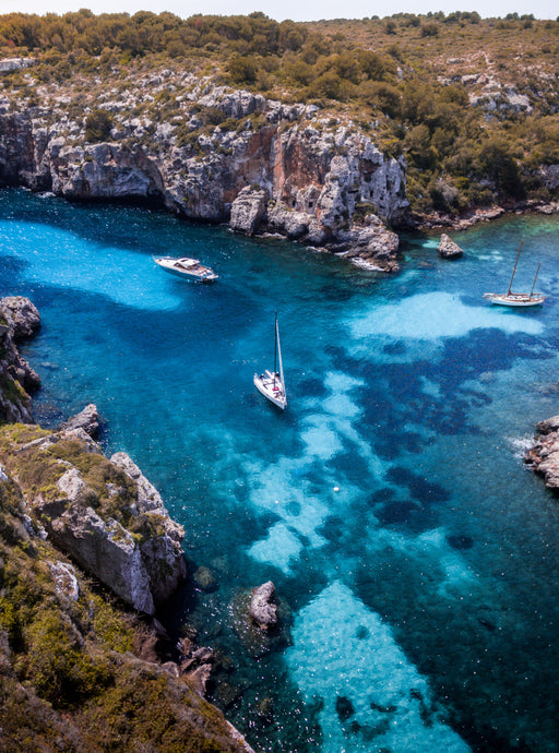 Boats Turquoise Water Beach Fine Art Print Poster Aerial Photography Drone Interior Design Menorca Blue Water Beach
