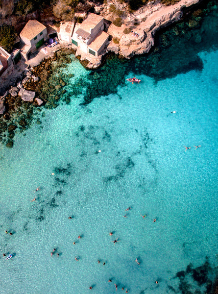 Cala Llombards, Mallorca, Islas Baleares, Spain. Aerial Print Aerial Poster Drone Photography Print Store.