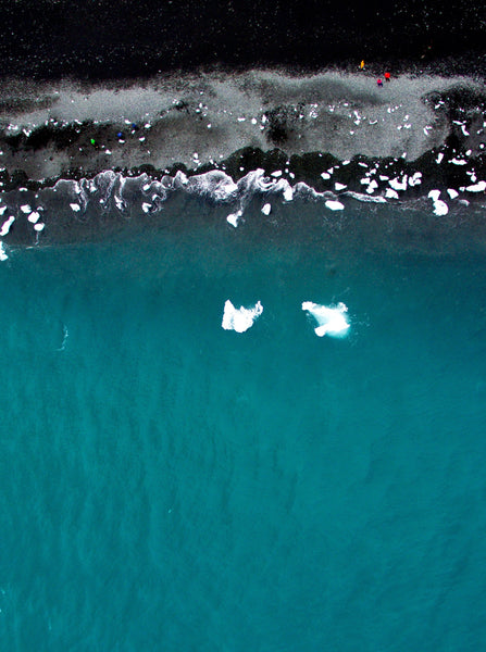 Drone Photography Iceland Two Icebergs Beach - Fine Art Prints - Aerial Photography - Interior Design Decoration