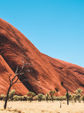 photograph of Uluru (Ayers Rock) monolith located in the red center of Australia, within Uluru-Kata Tjuta National Park near Alice Springs
