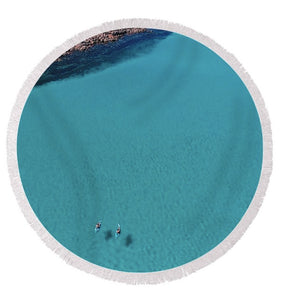 Meelup Beach, Two Kayaks, Western Australia. Aerial Print Aerial Poster Drone Photography Print Store. Circle Beach Towel