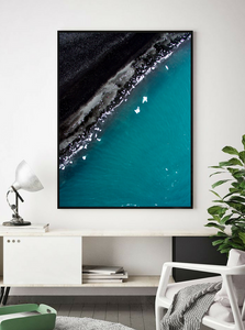 Black Beach Diamond Beach, Iceland. Aerial Print Aerial Poster Drone Photography Print Store.