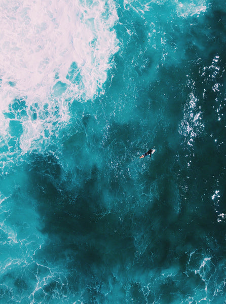 Lonely Surfer Yallingup Drone Photography Western Australia Yallingup Beach - Fine Art Prints - Aerial Photography - Interior Design Decoration - Wall Posters