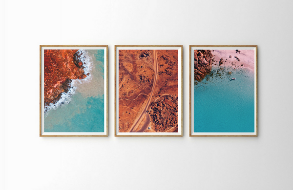 Outback Triptych Northern Territory Australia Red Center Outback Drone Photography Aerial View Poster Nature Portrait