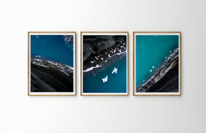 Drone Photography Iceland Triptych Beach - Fine Art Prints - Aerial Photography - Interior Design Decoration