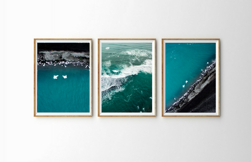 Drone Photography Iceland Iceberg Beach Triptych Art - Fine Art Prints - Aerial Photography - Interior Design Decoration