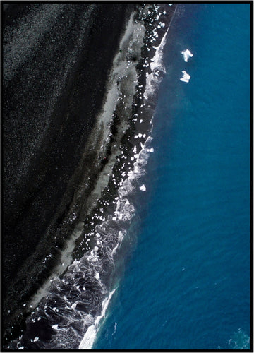 Black Beach Fine Art Print Poster Aerial Photography Drone Interior Design Iceland Icebergs Beach Black Frame