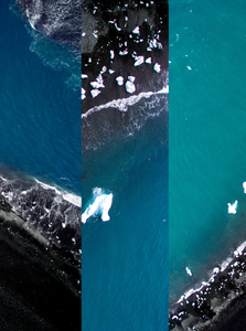 Black Beach Triptych Diamond Beach, Iceland. Aerial Print Aerial Poster Drone Photography Print Store.