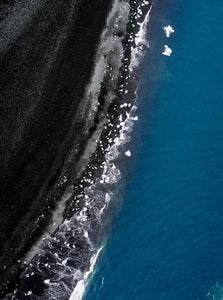 Black Beach Fine Art Print Poster Aerial Photography Drone Interior Design Iceland Icebergs Beach