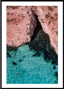 Swimming at Blue Lagoon Comino Island Malta Aerial Print Aerial Poster Drone Photography Print Store.