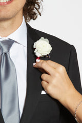 where to attach your prom boutonniere to your tuxedo jacket
