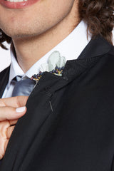 how your pin should look on your prom boutonniere tuxedo jacket