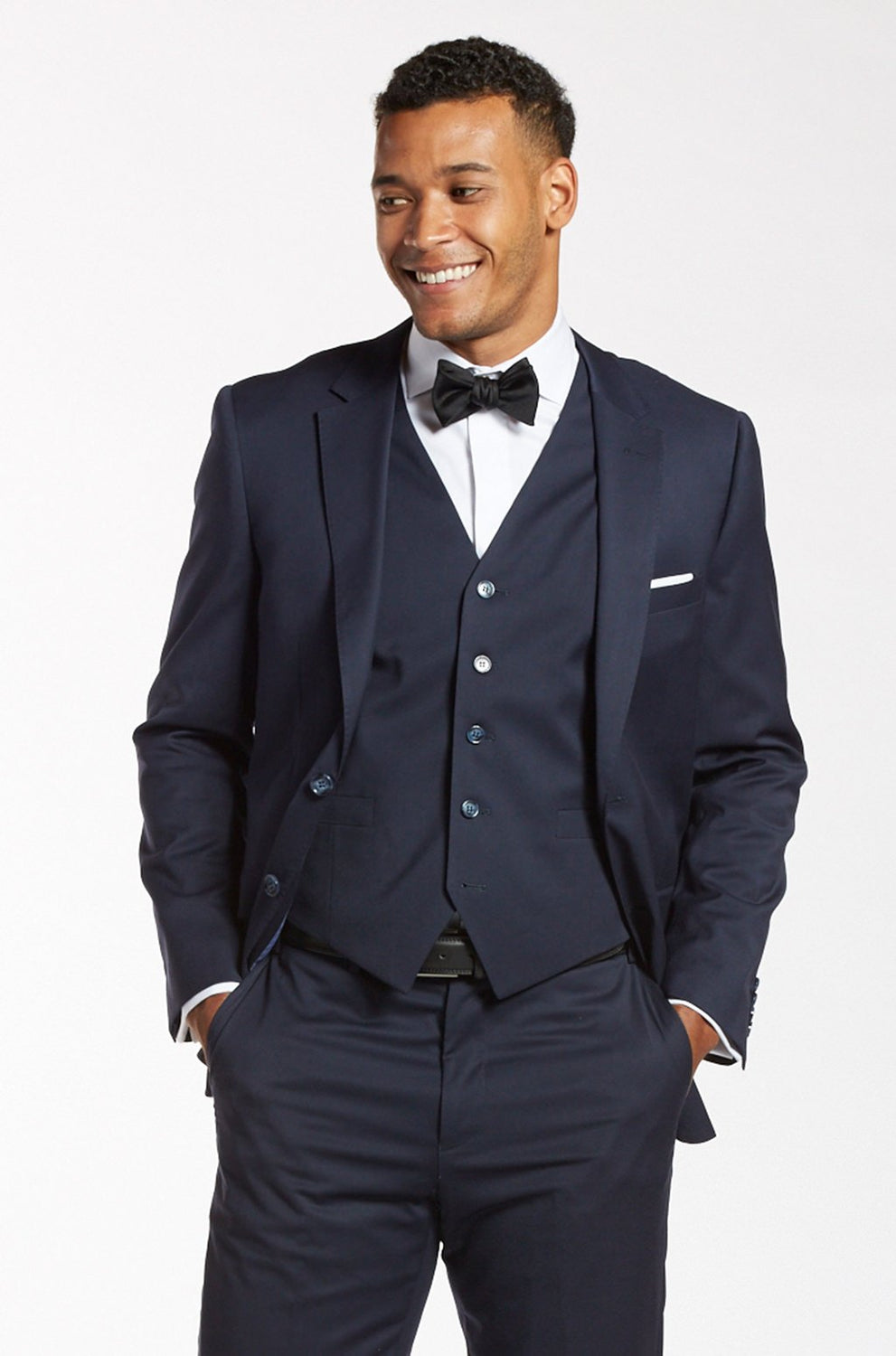 Navy Blue Three Piece Suit For Grooms
