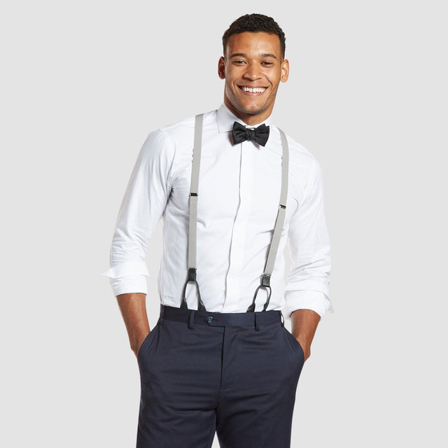 Grey Prom Suspenders