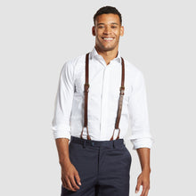 Load image into Gallery viewer, Brown Leather Suspenders
