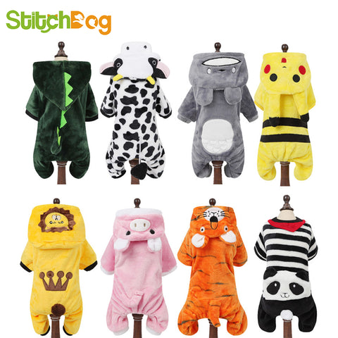 Cartoon Animal  for Sme for Smme.for Small  Dogs and  Cats Winter Warm Jumpsuit Pajamas